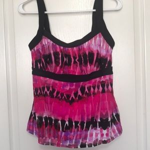 Swimsuits for All pink black tie dye tankini 10